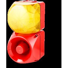 Комбинированный свето-звуковой оповещатель ASM+QFM Желтый 230-240 V AC, 24 V AC/DC
