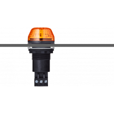 IBS светодиодный маячок с постоянным/мигающим светом и креплением на панели M22 Оранжевый 12 V AC/DC, черный