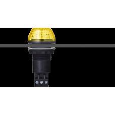 IBS светодиодный маячок с постоянным/мигающим светом и креплением на панели M22 Желтый 110-120 V AC, черный