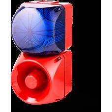 Комбинированный свето-звуковой оповещатель ASM+QDM Синий 120-240 V AC, 24 V AC/DC