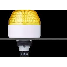 IBL светодиодный маячок с постоянным/мигающим светом и креплением на панели M22 Желтый 12 V AC/DC, серый