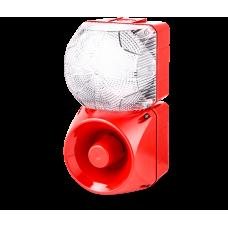 Комбинированный свето-звуковой оповещатель ASM+QFM Белый 110-120 V AC, 24 V AC/DC