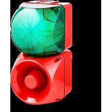 Комбинированный свето-звуковой оповещатель ASM+QFM Зеленый 230-240 V AC, 24 V AC/DC