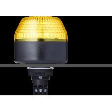 IBL светодиодный маячок с постоянным/мигающим светом и креплением на панели M22 Желтый 12 V AC/DC, черный