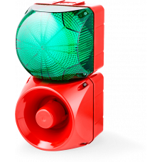 Комбинированный свето-звуковой оповещатель ASM+QFM Зеленый 24-48 V AC/DC, 24 V AC/DC